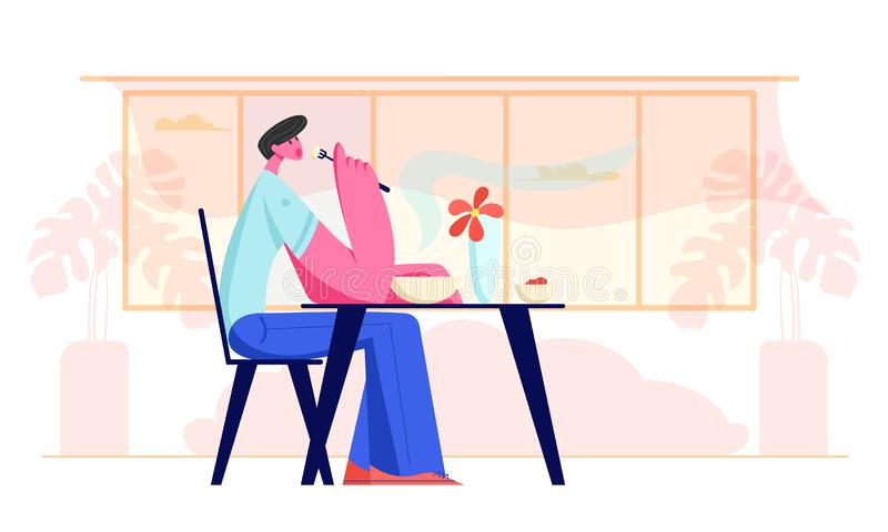Young Man Sitting at Table in Restaurant or Cafe Having Meal. Hungry Male Character Eating Food. Hospitality Service, Gastronomy. Business Lunch Time, Relaxing royalty free illustration