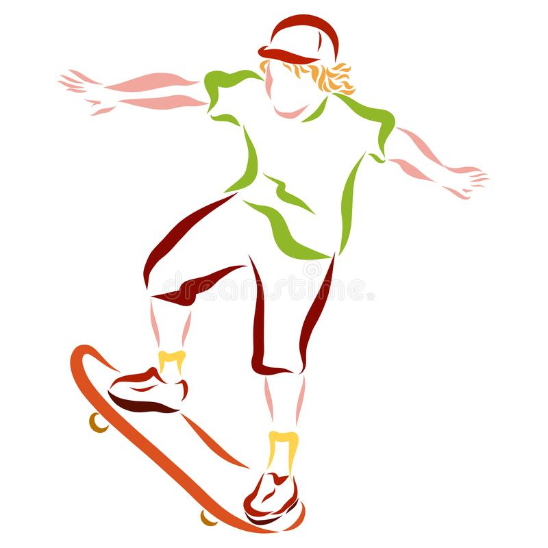 A young man on a skateboard vector illustration