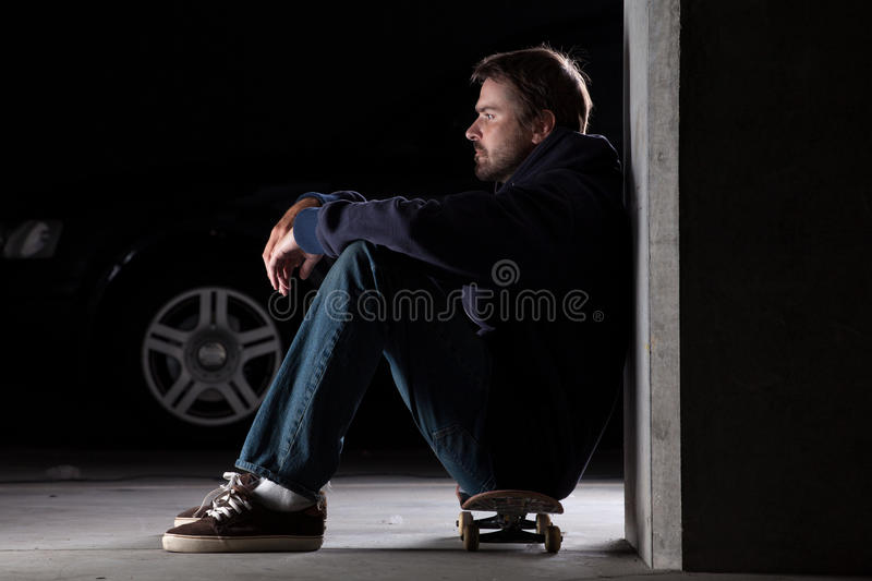 Download YOung man on skateboard stock photo. Image of stubble - 19913820