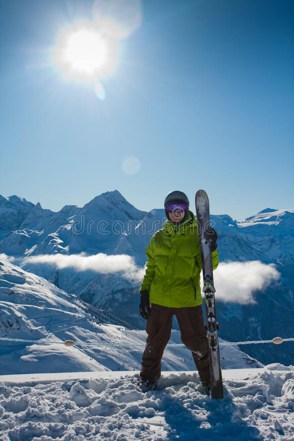 Young man with skis stock images