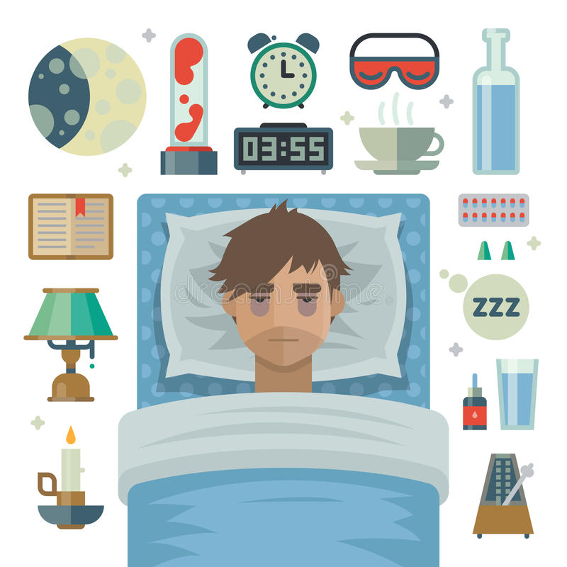 Young man with sleep problem insomnia and items. royalty free stock photos
