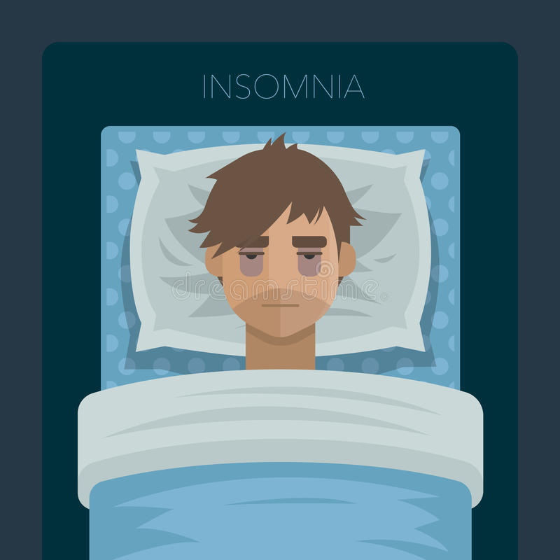 Young man with sleep problem insomnia. royalty free stock photos