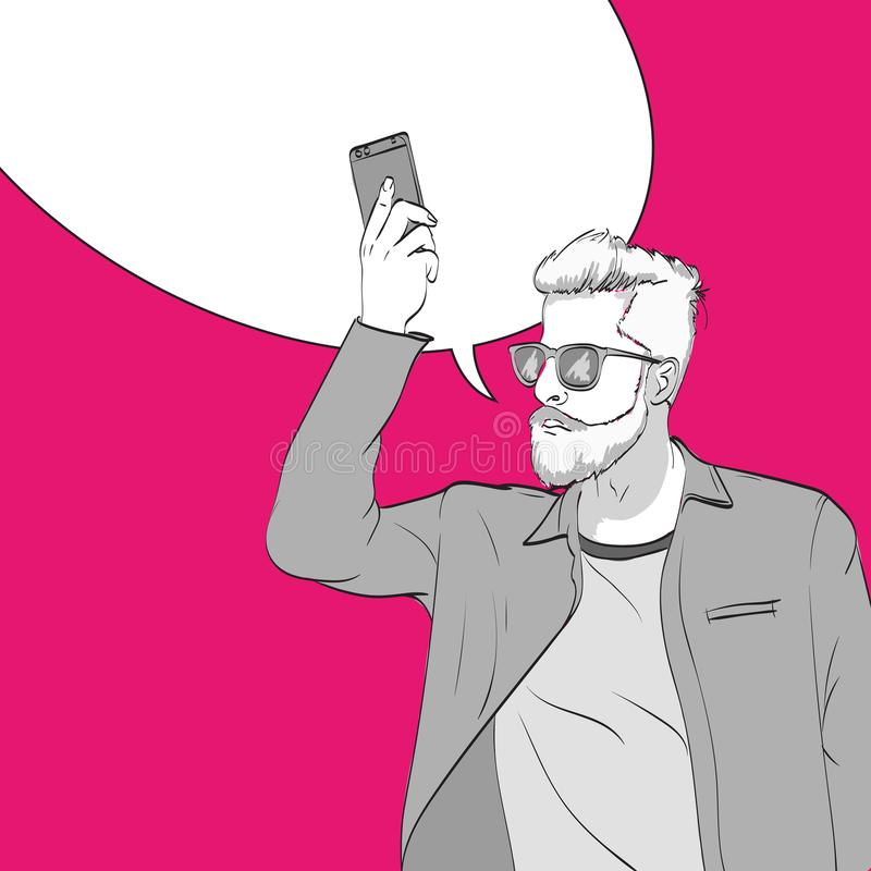 A young man with a smartphone. Pop art illustration. Fashion guy with a smartphone. Template with bubble for text stock illustration