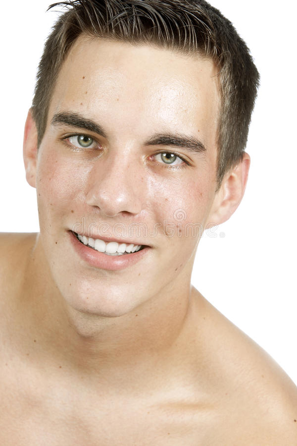 Download Young man smiling stock image. Image of head, blue, background - 21084661