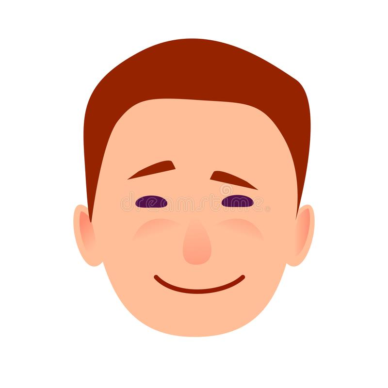 Young Man Smiling Face Flat Vector Icon vector illustration