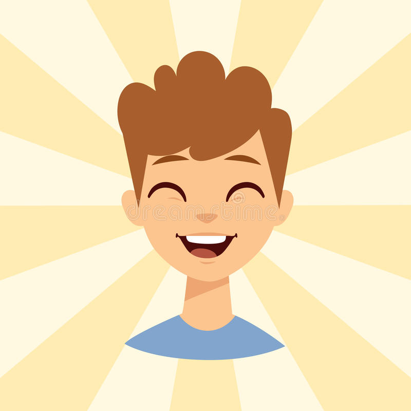 Young man smiling person caucasian attractive portrait cheerful male character vector illustration. stock illustration