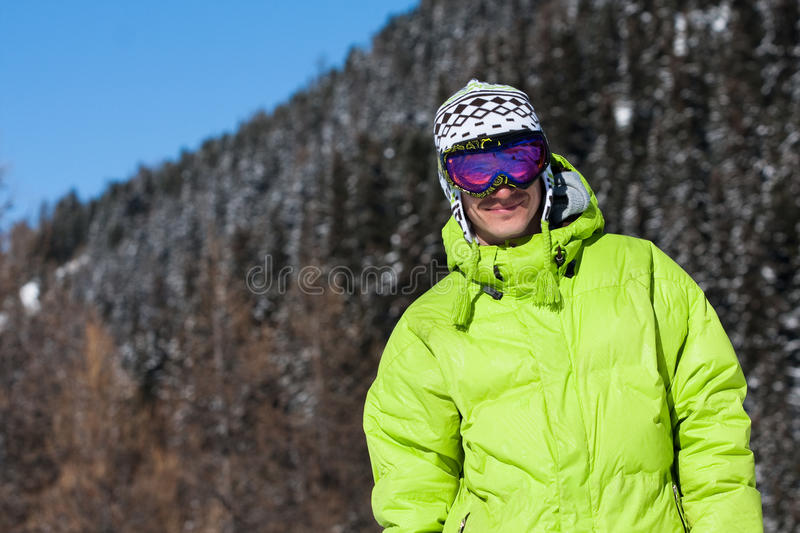 Young man smiling in ski mask stock photos