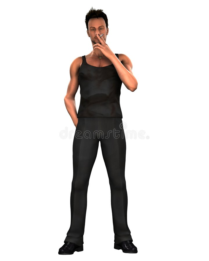Download Young Man Smoking A Cigarette Stock Illustration - Image: 7692713