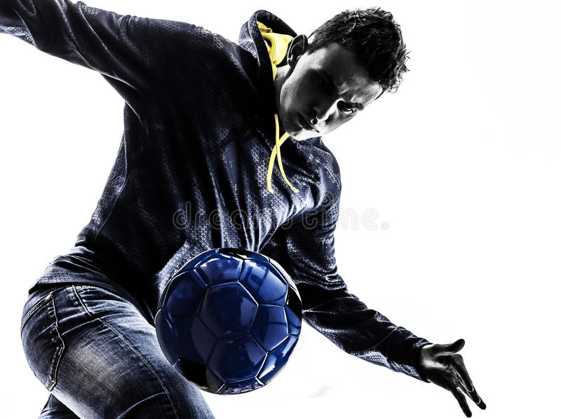Download Young Man Soccer Frestyler Player Silhouette Stock Image - Image of young, caucasian: 32739139