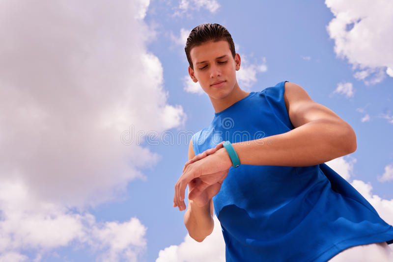 Young Man Sports Training Fitness Fitwatch Steps Counter royalty free stock photography