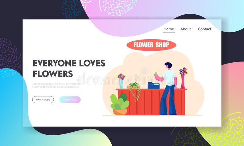 Young Man Stand at Counter Desk in Flower Shop Website Landing Page, Customer Visiting Floristic Store for Choosing Buying Bouquet. Florist Workplace Web Page royalty free illustration