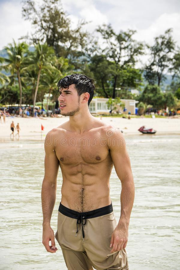 Young man standing on beach by the ocean. Heavily filtered shot of a handsome young man standing on a beach in Phuket Island, Thailand, shirtless wearing boxer royalty free stock image