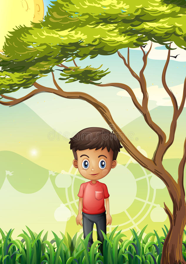 A young man standing at the field near the giant tree. Illustration of a young man standing at the field near the giant tree stock illustration