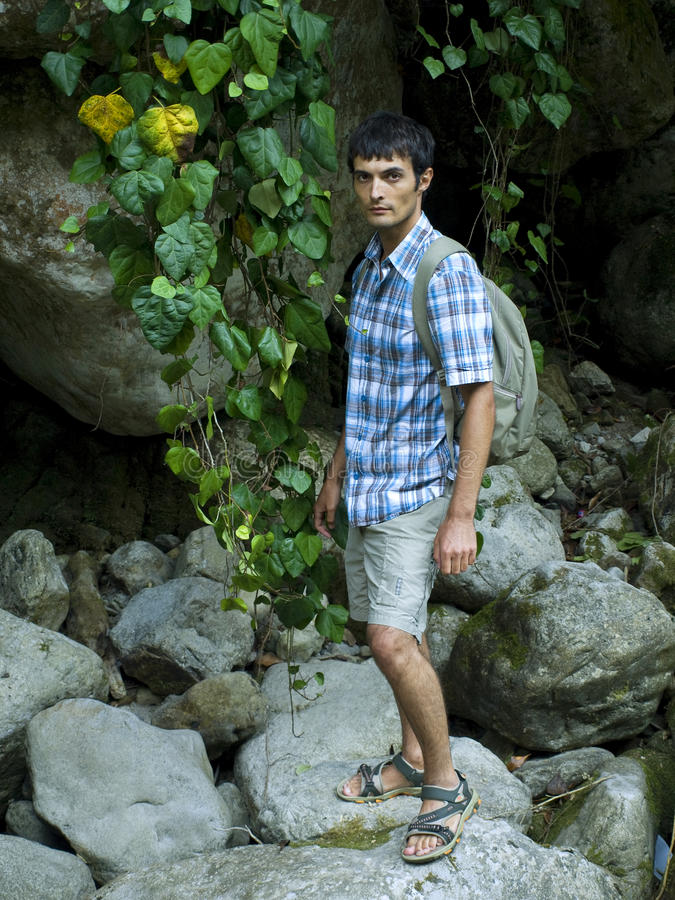 Young man standing on rocks in mountain forest stock images