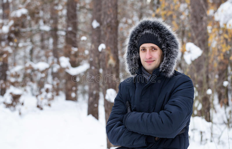 Download Young Man Stands In The Winter Forest. Stock Image - Image of looks, caucasian: 83712159