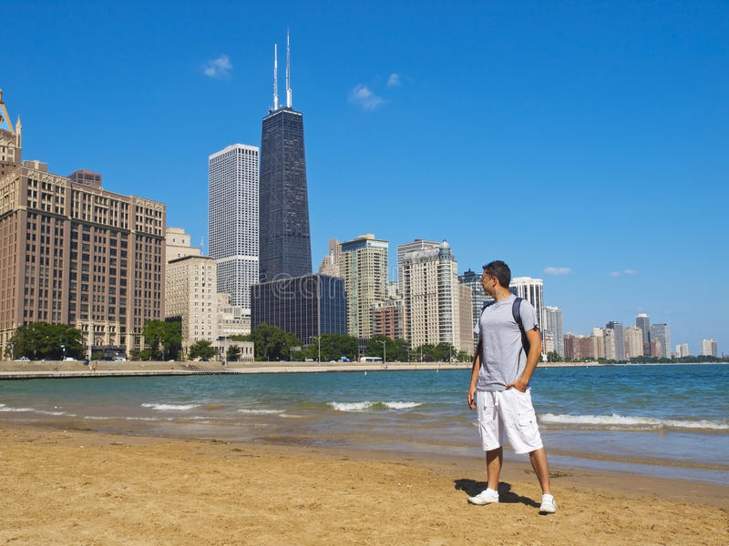 Download Young Man Staring At The Chicago Skyline Stock Image - Image: 16536147
