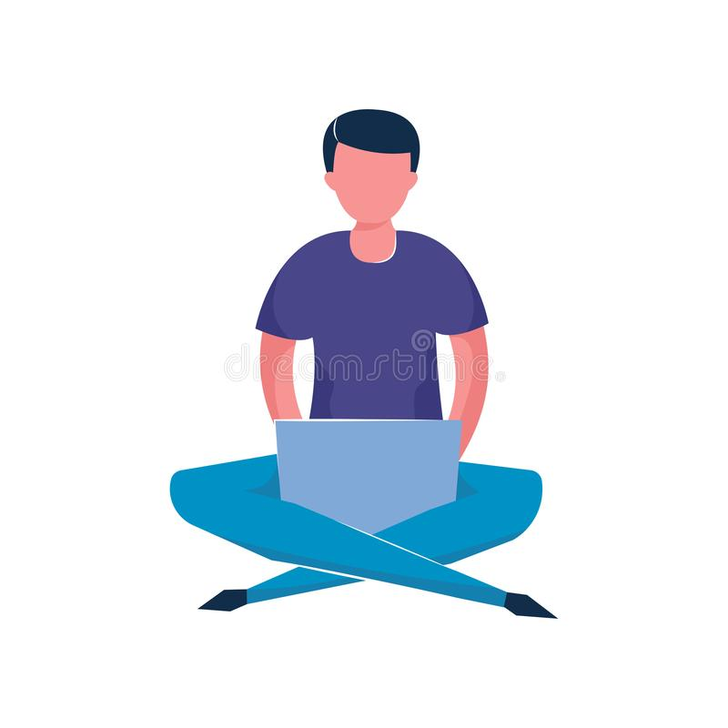 Young man stay with crossed legs and works at his laptop vector illustration