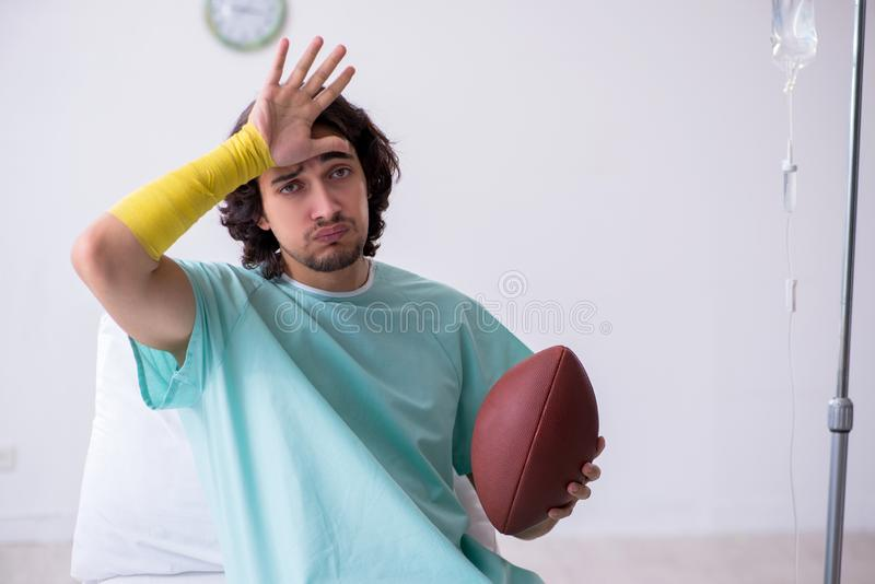 Young man staying in hospital in transfusion concept. The young man staying in hospital in transfusion concept stock photos
