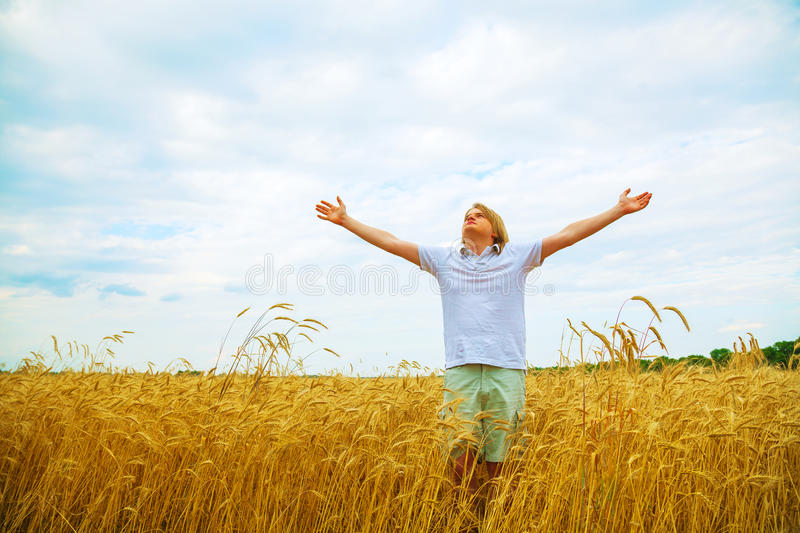 Download Young Man Staying With Raised Hands Stock Image - Image: 29757941
