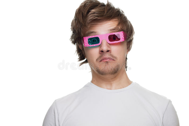 Young Man In Stereo Glasses Surprised Isolated Stock Photography