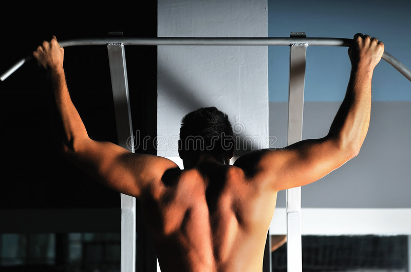Download Young Man With Strong Arms Working Out In Gym Stock Image - Image: 8062031