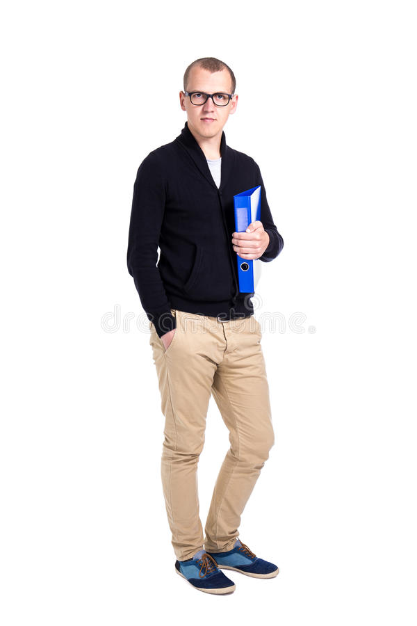 Young man student or office worker standing isolated on white royalty free stock photos
