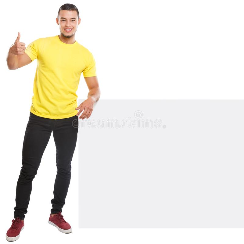 Young man success successful copyspace marketing ad advert empty blank sign isolated on white. Young man success successful copyspace marketing ad advert empty stock photo