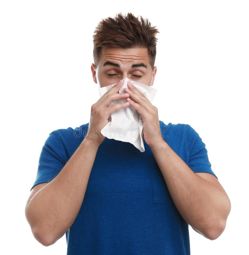 man suffering from allergy on white background royalty free stock photo