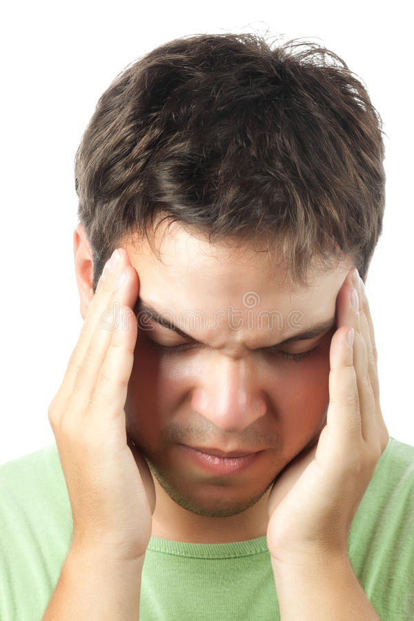 Young Man Suffering From A Headache Isolated Stock Photography