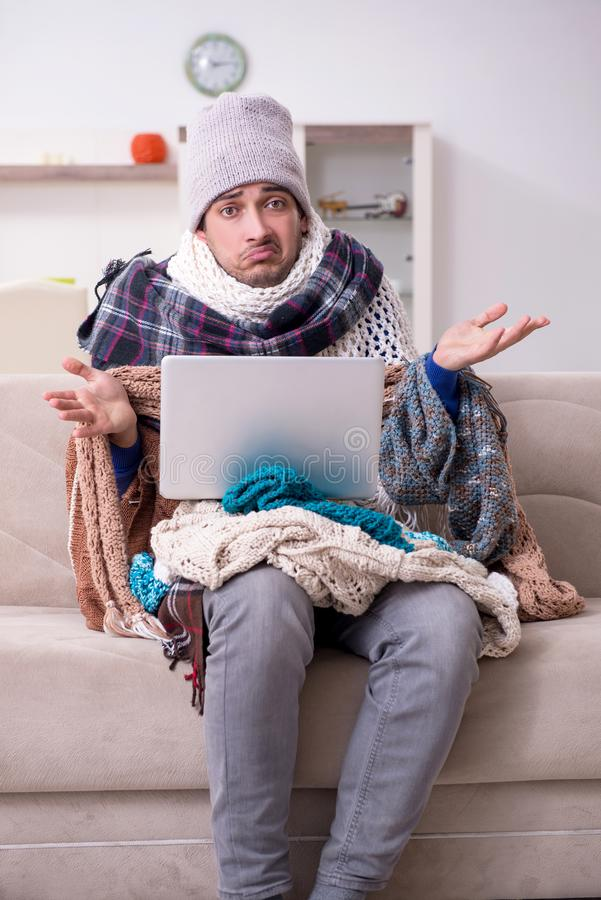 Young man suffering at home royalty free stock photo