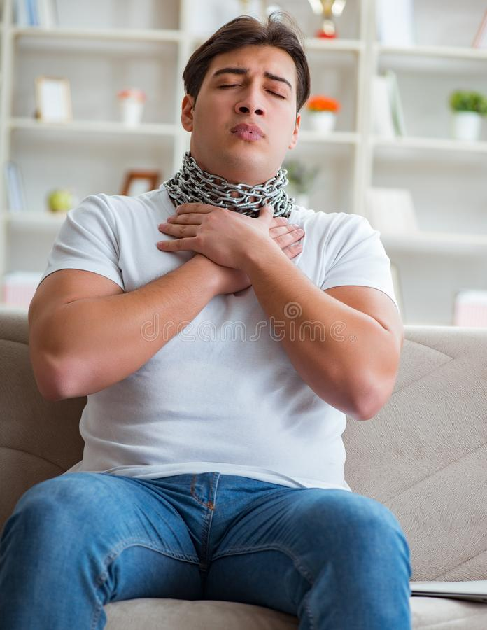 Young man suffering from sore throat royalty free stock photo