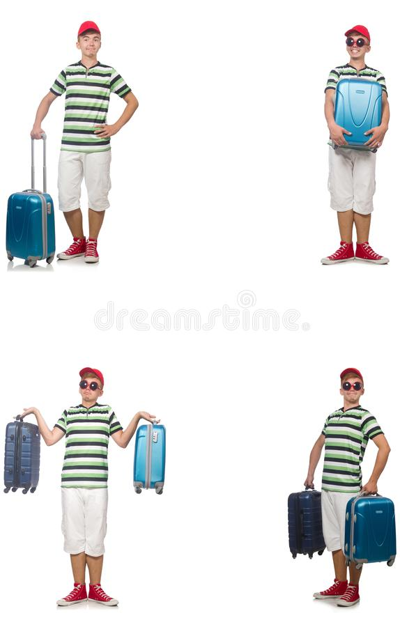 Young man with suitcase isolated on white royalty free stock photography