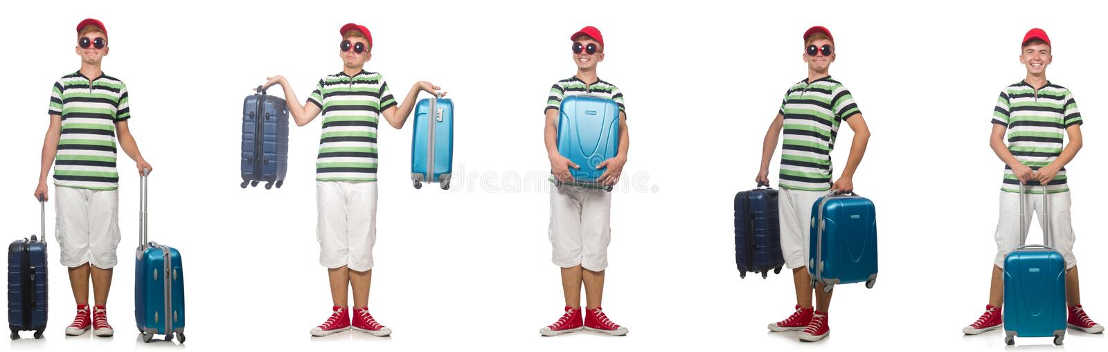Young man with suitcase isolated on white stock images