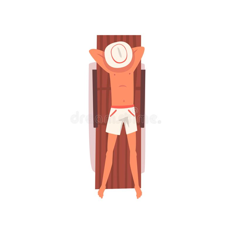 Young Man Sunbathing on Beach Towel, Top View of Lying Guy in Hat Vector Illustration royalty free illustration