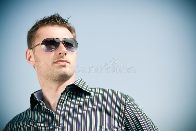 Download Young man in sunglasses stock image. Image of white, shades - 15794491