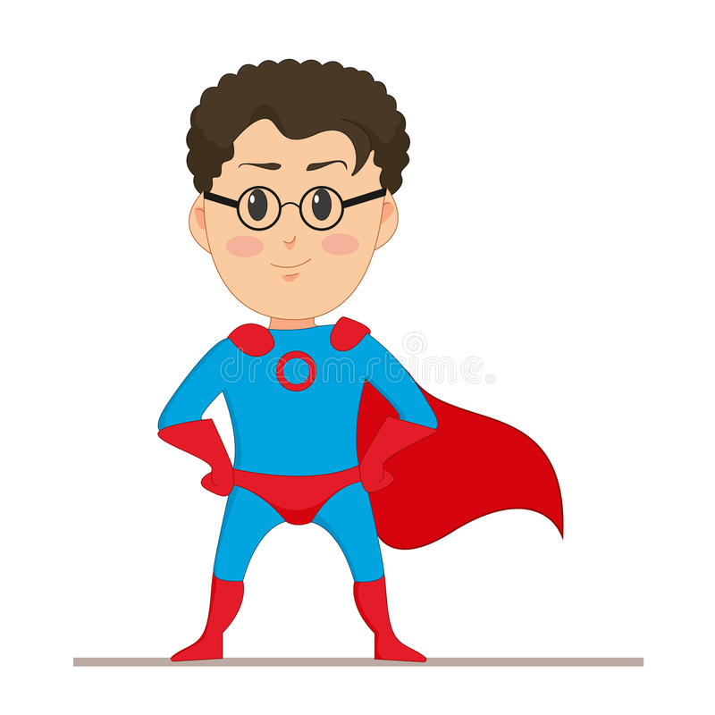 Young man in super hero costume. The man in glasses with developing a red cape on his back. Flat character isolated. On white background. Vector, illustration stock illustration
