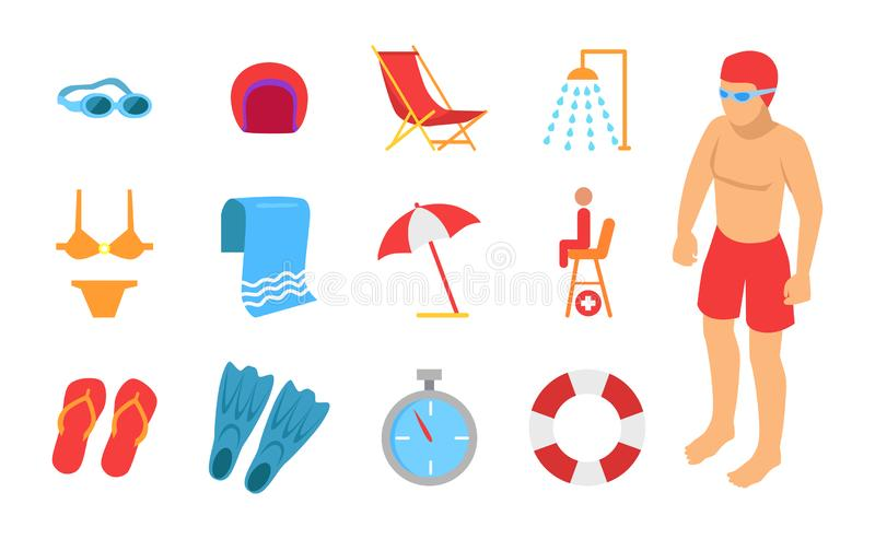 Young Man Surrounded with Swimming Equipment Icon stock illustration