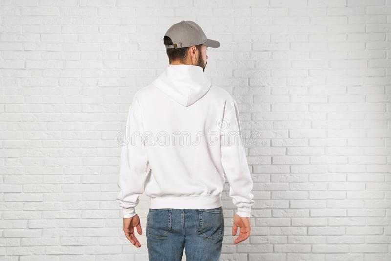 Young man in sweater. Mock up for design stock image