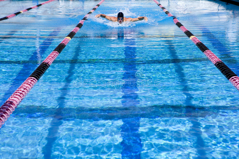 Young man swimming in lane in swimming pool stock photos