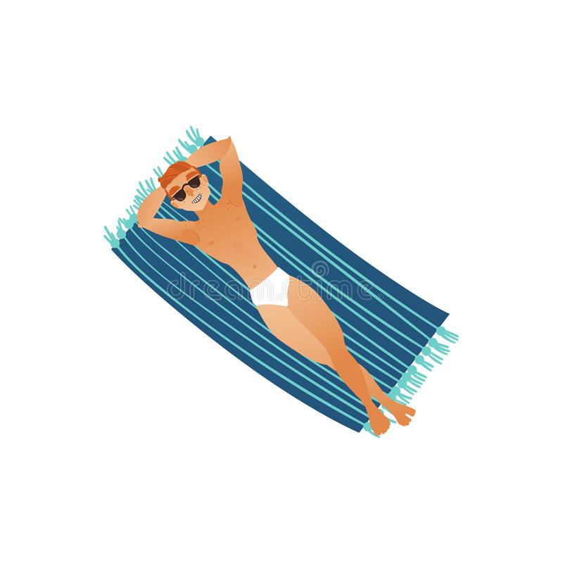 Young man in swimwear and sunglasses sunbathes laying on big blue beach towel. royalty free illustration