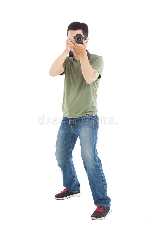 Young Man Take A Picture Stock Photo