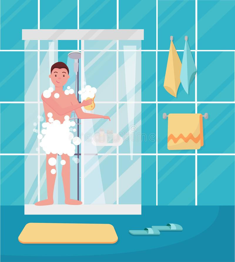 Young man taking shower. Happy guy washing his head, hairs, body with soap under water. Routine hygiene procedure in bathroom stock illustration