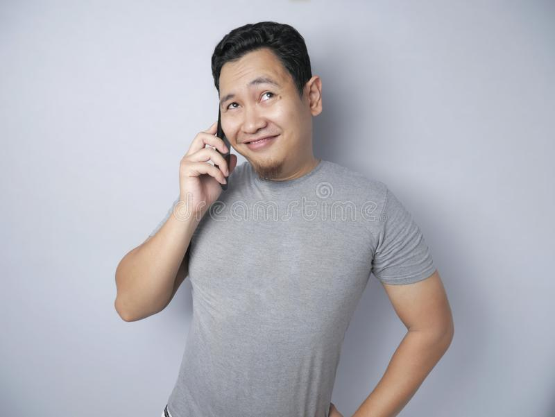 Young Man Talking on his Phone, Happy Smiling Laughing stock images