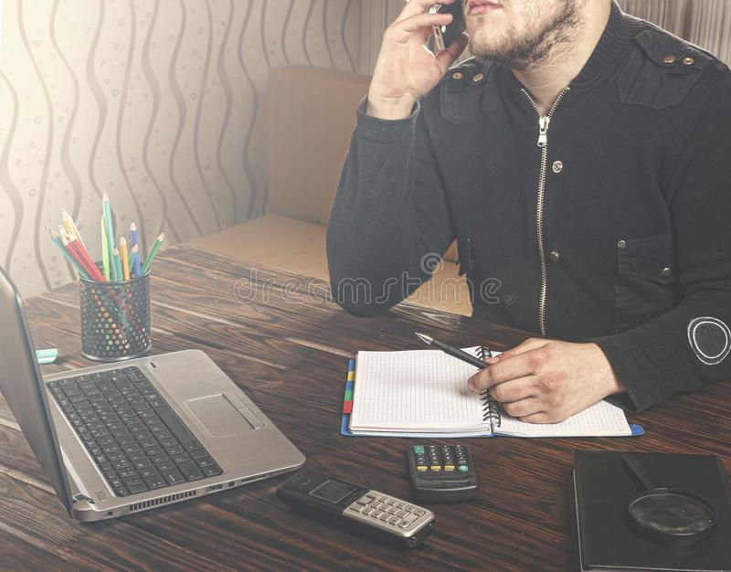 Freelancer, freelance, phone, young, business, mobile, businessm stock photography