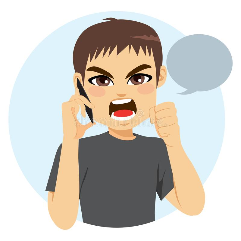 Angry Man Phone. Young man talking with phone having angry conversation royalty free illustration