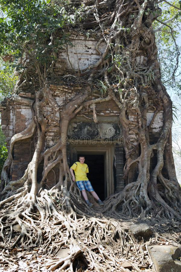 young man, the teenager at an entrance to the destroyed covered with roots of trees temple Prasat Chrap in the Koh Ker temple com stock image