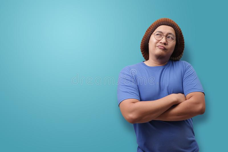 Young Man Thinking and Looking Up, Having Good Idea royalty free stock photo