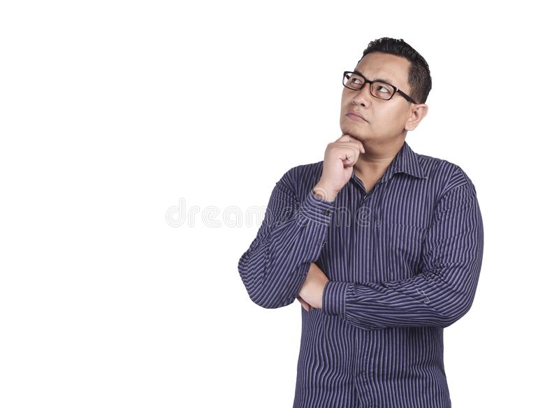 Young Man Thinking and Looking Up, Having Good Idea stock images