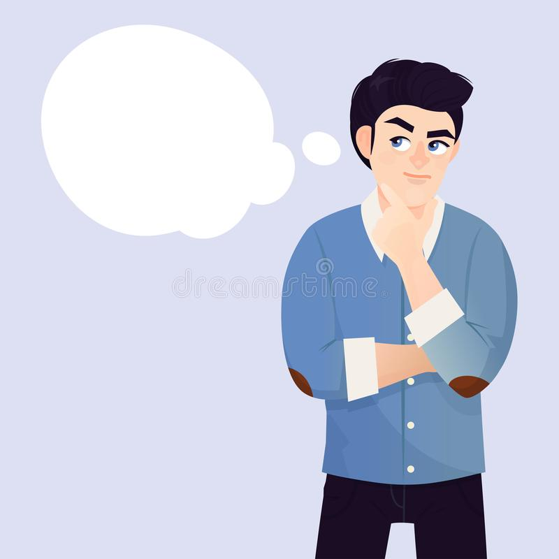 Young man thinking. Pondering on particular belief or idea, empty cloud bubble for text or image. Vector flat style cartoon illustration royalty free illustration