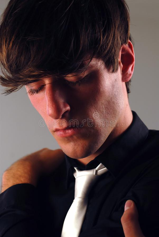 Young man thoughtful royalty free stock images